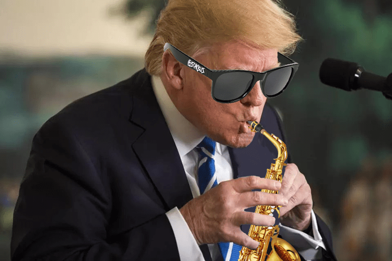 trump playing the saxophone photoshop