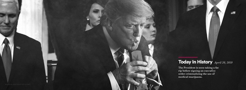 Photograph - Today In History April 20, 2019 The President is seen taking a fat rip before signing an execufive order criminalizing the use of medical marijuana. MARKALANCEEATrive.coM