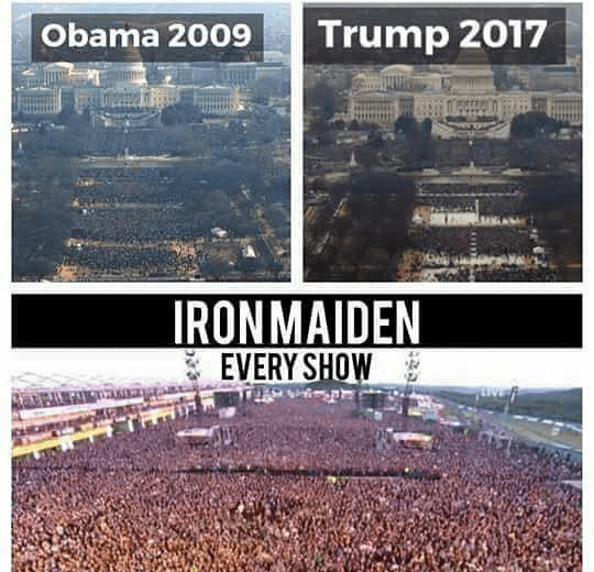 heavy metal meme - Text - Trump 2017 Obama 2009 IRONMAIDEN EVERY SHOW