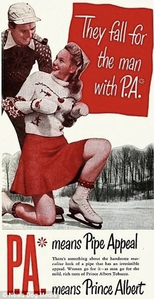 Vintage advertisement - They fil far trhe man with PA: means Pipe Appeal There's something about the handsome ma caline look of a pipe that has an irresistible appeal. Women go for it-as men go for the mild, rich taste of Prince Albert Tobacco CNLWS Dog Medt lcans Prince Albert