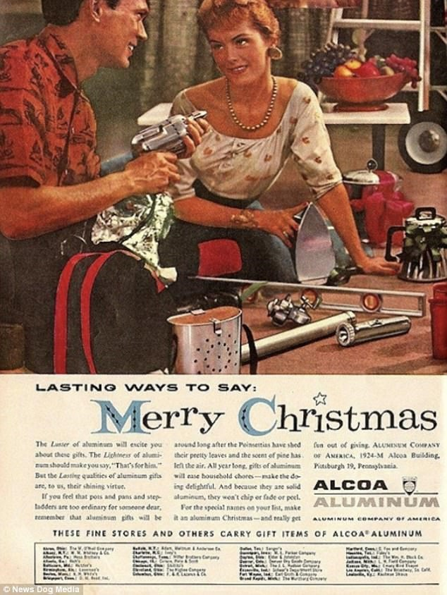 """Vintage advertisement - LASTING WAYS TO SAY: Merry Christmas The Luier of aluminum will excite yea atound tong after the Peinsetias have shed aboat these gilts. The Lichtness of alumi their peeity leaves and the seents of pise has. au should make you say,""""That's for him le the air. All year long gifts of aluminum But the Lesting qualities of aluminum giftswill ease household chores-make the do ing delightful. And becauMe they ase solid fun out ef ping ALUMINUM COMPANY OF ANEXICA, 1924-M Aleoa Bu"""