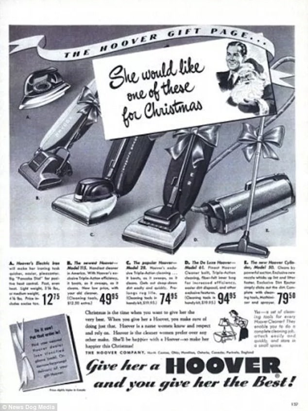 Vintage advertisement - THE HOOVER GIET PAGE. She would like one of these for Christmas The Hv he De lee Hee Mdel Hr wi ck Mdel MeavCyl Medel10O D r g 4995 94 95 795 e Christm is he whaa you wa to give ker the ry Whee you ve rHo u make doing tha Hver isa name vo wdepe nd ly oHar she cses pd ather make Sh be hiith He ke hp chis Chri THE HOOVER COMPANY sfor e The eleleceg h ek ly dvele Give her a HOOVER and you give her the Best! News Dog Media