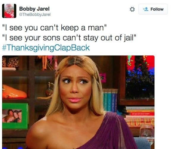 thanksgiving clap back about not being able to keep a man