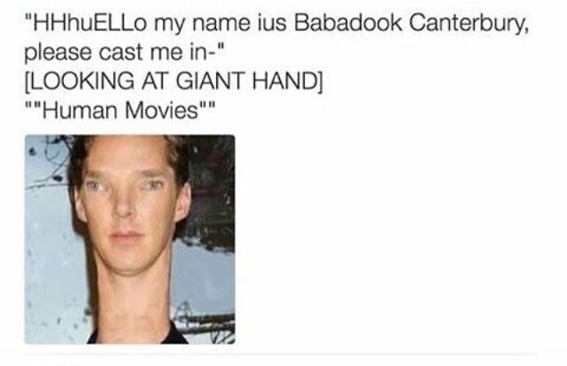 funny meme making fun of Benedict Cumberbatch with a surreal photo of him all stretched out