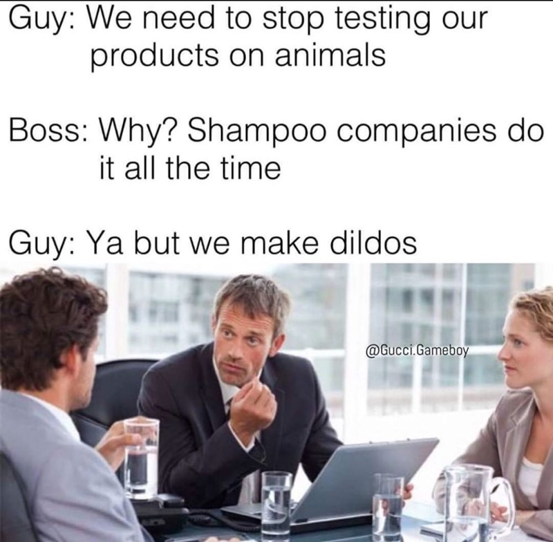 Classic meme about the need to stop testing products on animals