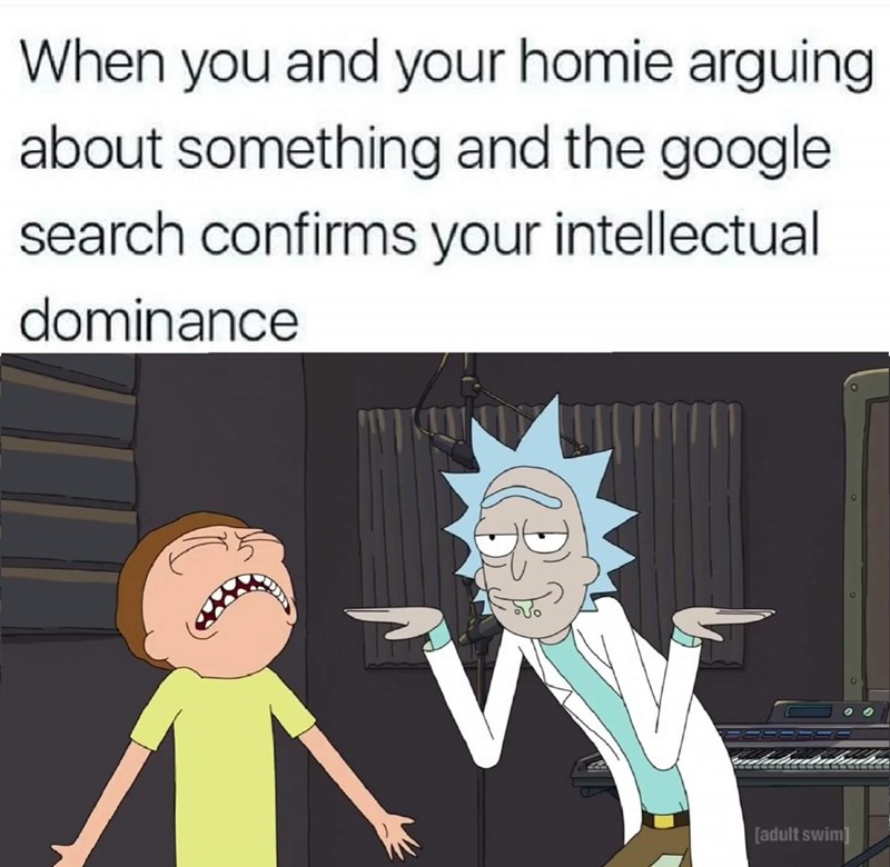 Rick and Morty meme about when you are arguing with your friend about something and Google search confirms you are right