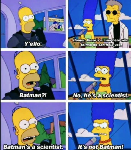 6-panel meme of the Simpson's and Home thinks Batman is here to see him