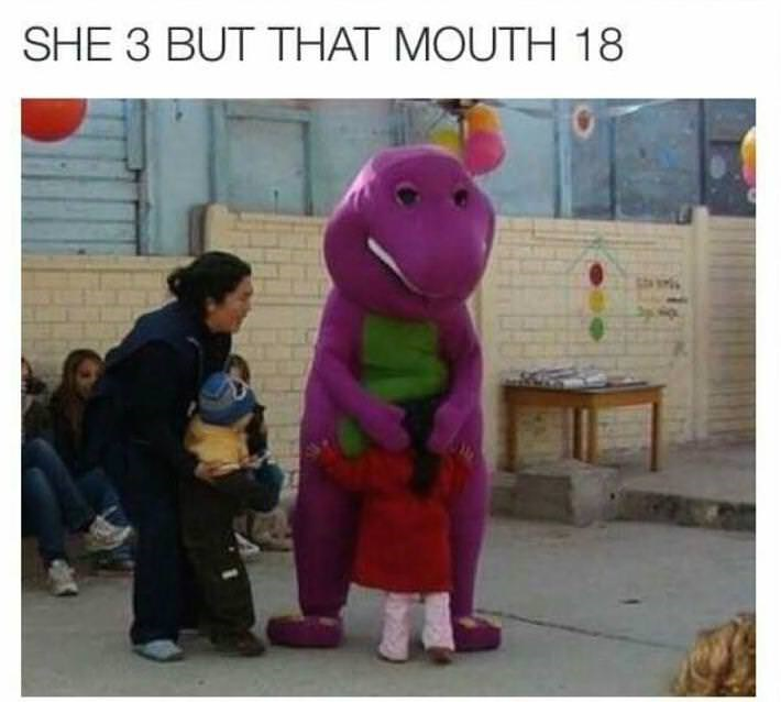 Brutal dank meme that his funny of Barney getting a hug from a 3 year old with horribly inappropriate caption