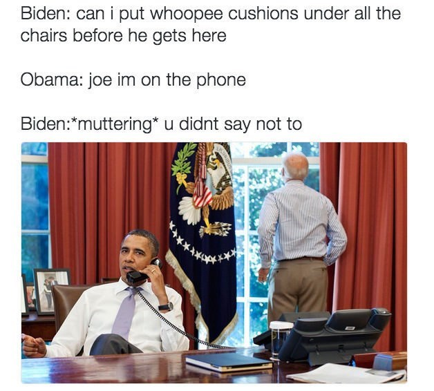 Biden Obama meme about whoopie cushions to use on Trump