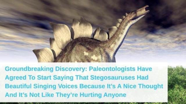 Paleontologists have agreed to start saying Stegosauruses had beautiful singing voices because it is a nice thought and doesn't really hurt anyone