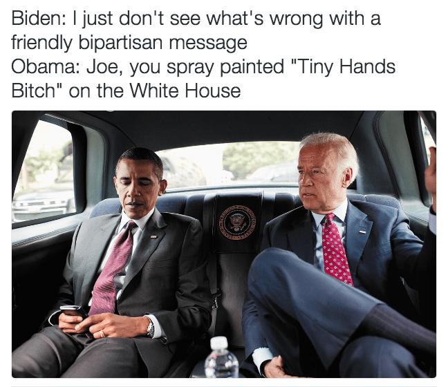 Joe Biden meme about vandalizing the white house