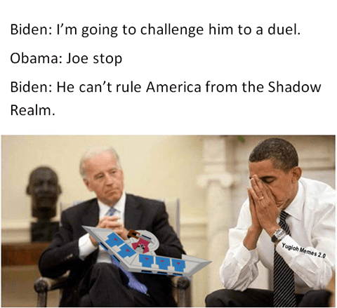 Joe Biden meme about challenging Trump to a Yu Gi Oh duel