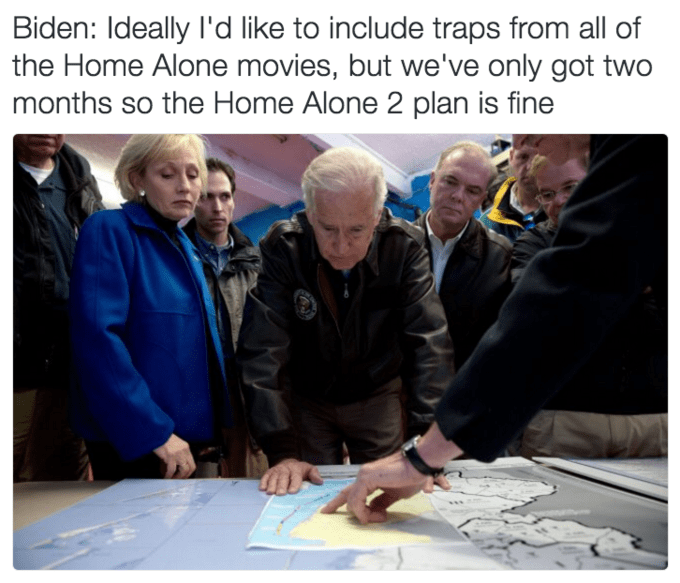 Joe Biden meme about basing military plans after the Home Alone movies