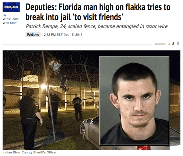 Florida Man high on flakka tries to break into jail to visit friends