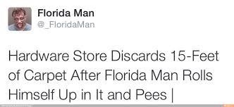 Florida man pees in rolled up carpet in hardware store