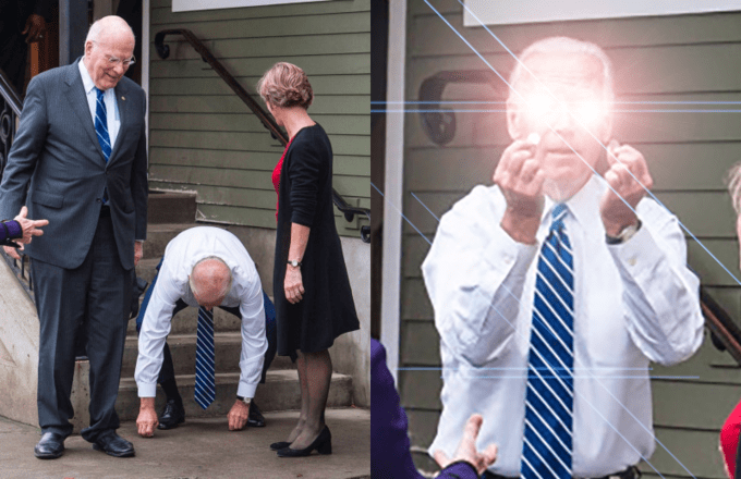 Joe Biden meme about him picking something up and getting glowing eyes