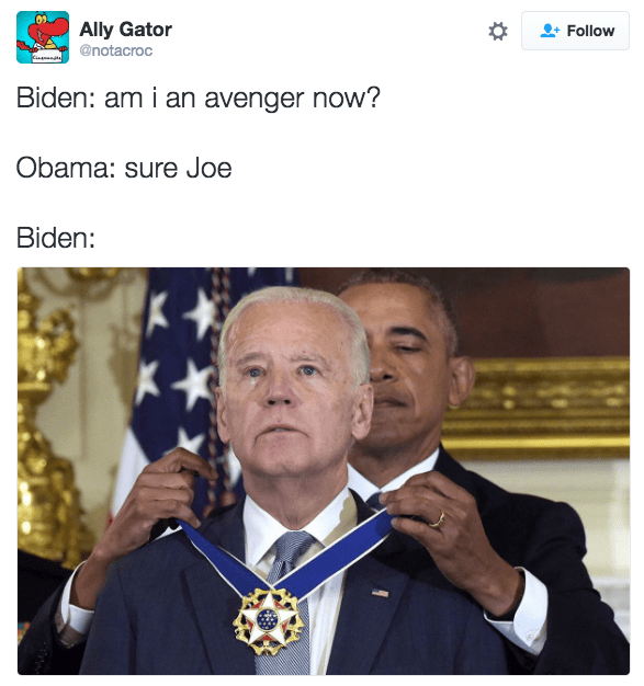 Joe Biden meme with picture of him crying as Obama makes him into an Avenger