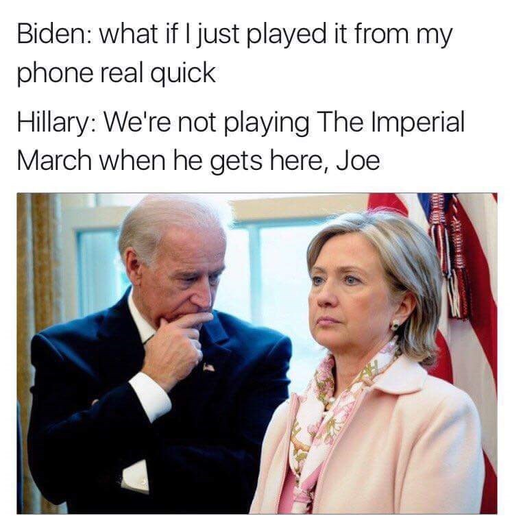 Joe Biden meme about making a joke about Trump being Darth Vader