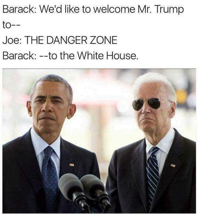 Joe Biden meme about welcoming Trump to the danger zone
