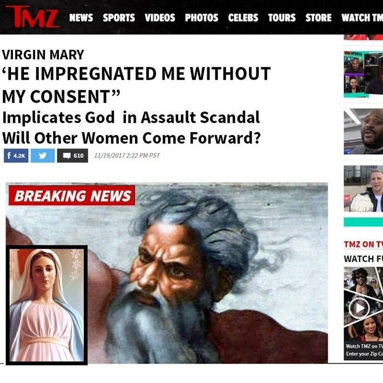 Dank meme of Virgin Mary accusing got impregnated her without concern on cover of TMZ