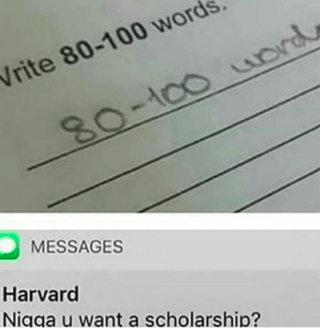 Meme about how black people can get scholarships easily by doing the bare minimum of effort