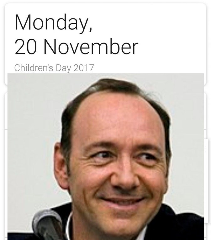Dank meme about Kevin Spacey smiling on 20th of November, which is Children's day.