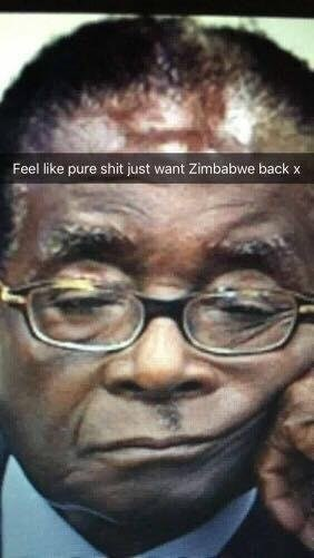 Snapchat of Mugabe looking glum and just wanting his Zimbabwe back