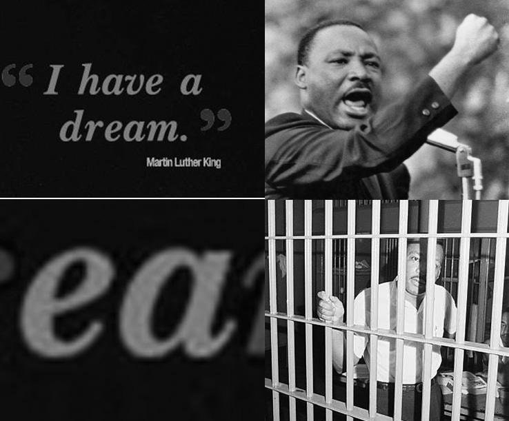 Dank meme about Martin Luther King and the letters EA are in his statement and he is thrown in jail