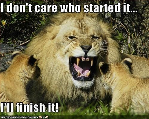 funny lions - - Wildlife - I don't care who started it... l finish it! ICANHASCHEE2EURGER coM