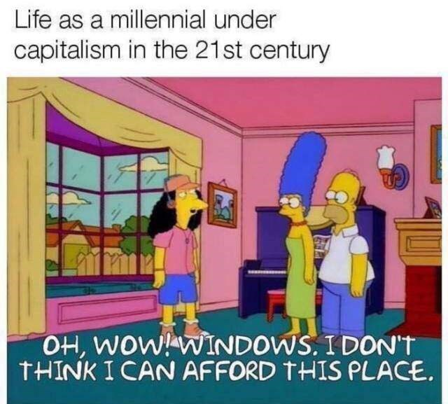 Cartoon - Life as a millennial under capitalism in the 21st century OH, WOW! WINDOWS. I DON'T THINK I CAN AFFORD THIS PLACE