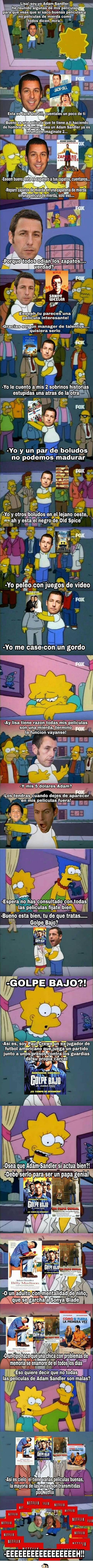 meme de adam sandler con el resumen de todas sus peliculas