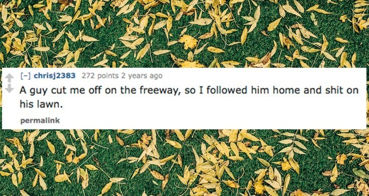 Leaf - [-] chrisj2383 272 points 2 years ago A guy cut me off on the freeway, so I followed him home and shit on his lawn. permalink