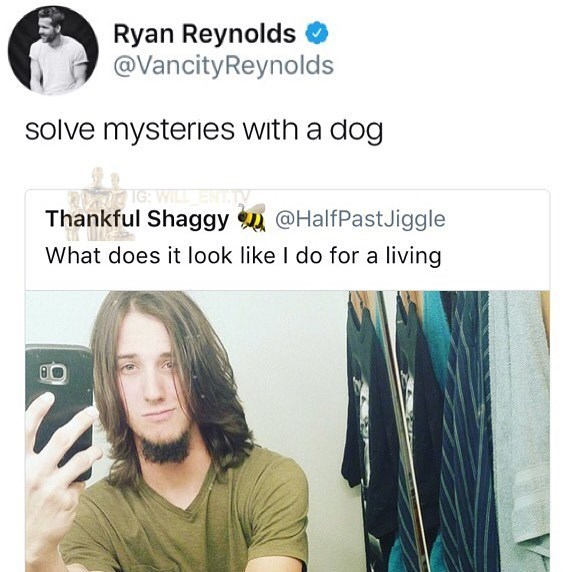 Funny meme about Ryan Reynolds telling someone he looks like Shaggy from Scooby Doo.