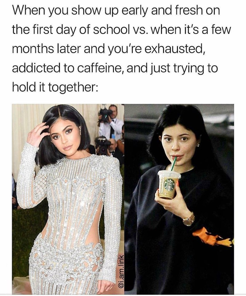 meme - Text - When you show up early and fresh on the first day of school vs. when it's a few months later and you're exhausted, addicted to caffeine, and just trying to hold it together: @i.am.link