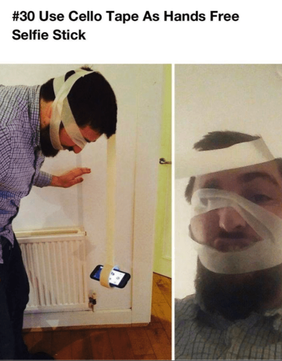 Photo caption - # 30 Use Cello Tape As Hands Free Selfie Stick