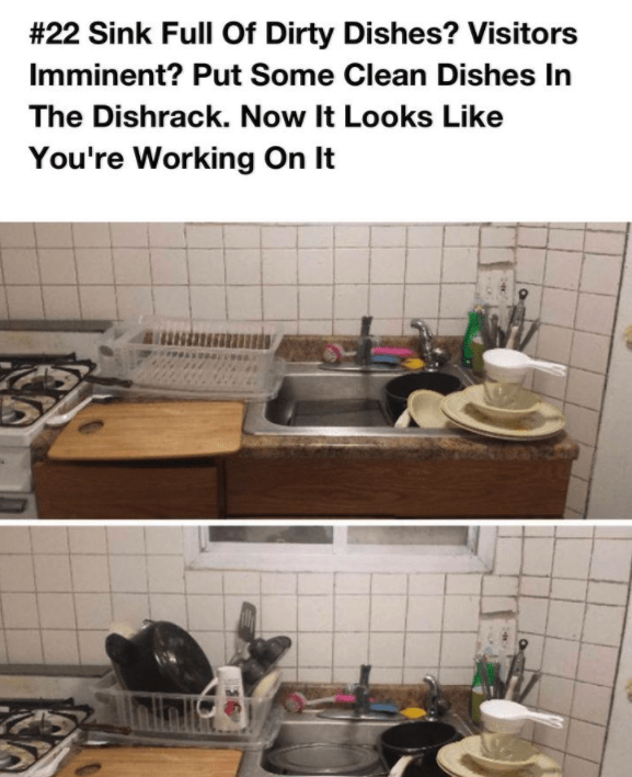 Tile - # 22 Sink Full Of Dirty Dishes? Vis itors Imminent? Put Some Clean Dishes In The Dishrack. Now It Looks Like You're Working On It