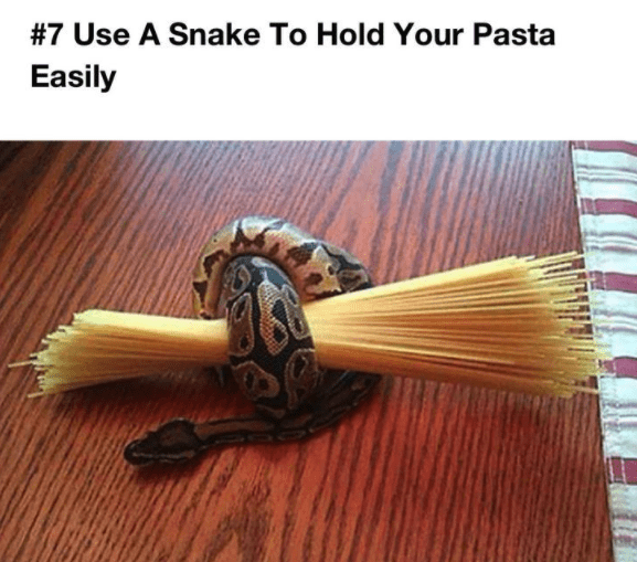 Wood - #7 Use A Snake To Hold Your Pasta Easily