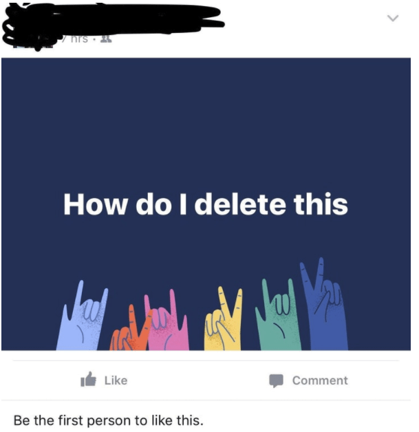 old people social media - Text - hrs How do I delete this Like Comment Be the first person to like this.