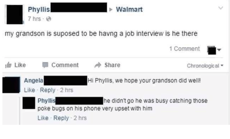 old people social media - Text - Phyllis 7 hrs Walmart my grandson is suposed to be havng a job interview is he there 1 Comment Chronologic al Like Comment Share Hi Phyllis, we hope your grandson did well! Angela Like Reply 2 hrs Phyllis poke bugs on his phone very upset with him Like Reply 2 hrs he didn't go he was busy catching those