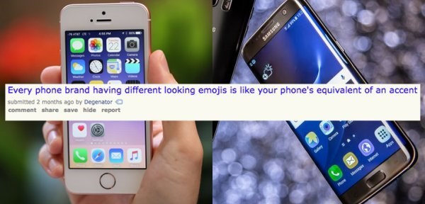 Mobile phone - Every phone brand having different looking emojis is like your phone's equivalent of an accent submitted 2 months ago by Degenator comment share save hide report ery Ap ene Weger