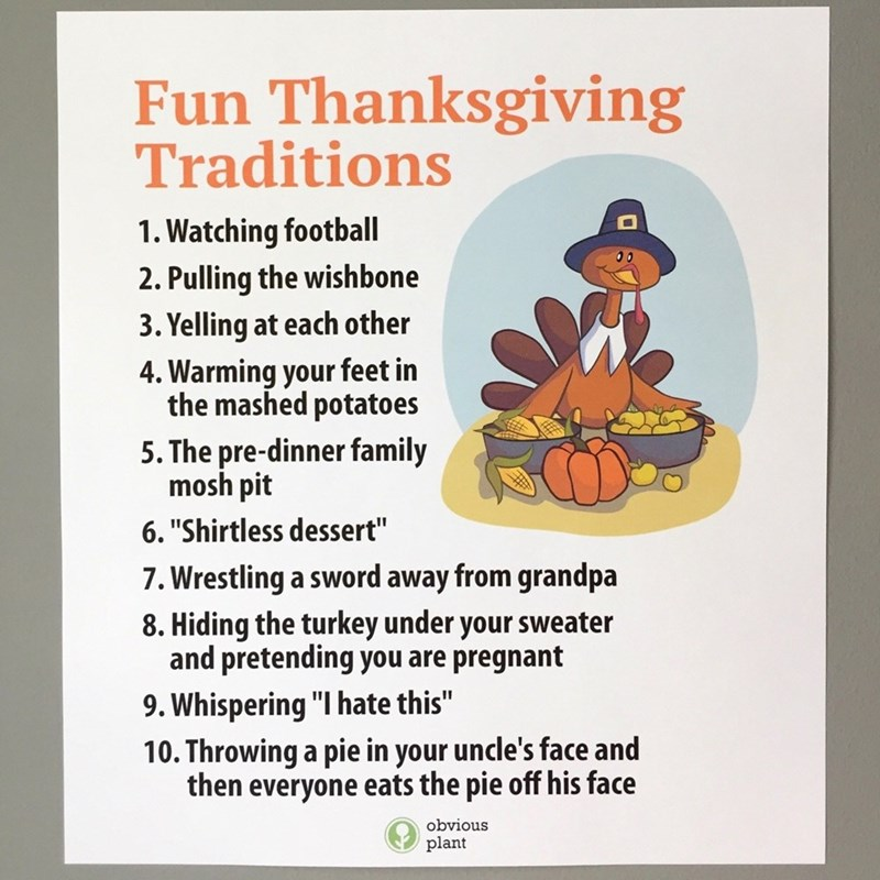 Funny meme about funny and weird Thanksgiving traditions.