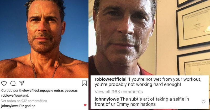 A collection of times that celebrity Rob Lowe posted on Instagram, and his sons proceeded to roast him.