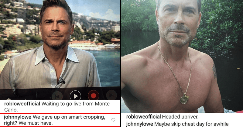 Funny comments from John Lowe on Rob Lowe's instagram page, Rob Lowe's son roasting him on Instagram.