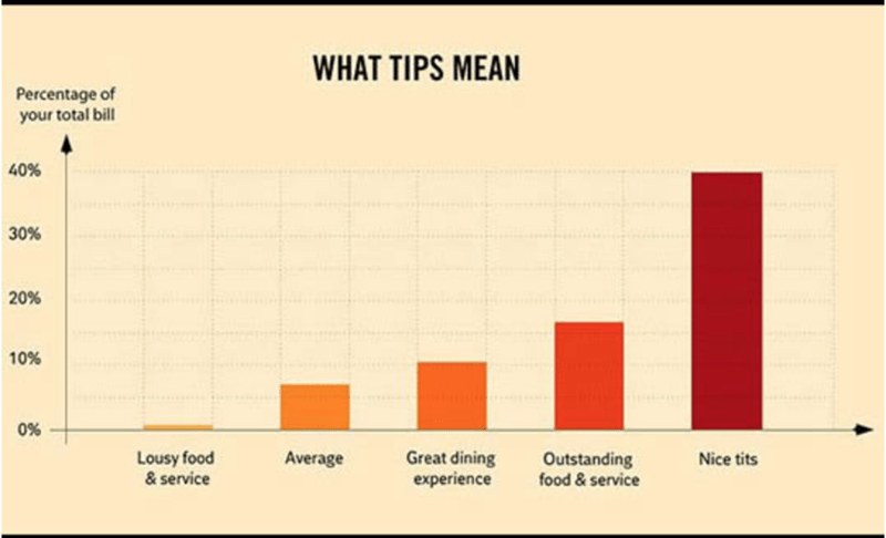 Text - WHAT TIPS MEAN Percentage of your total bill 40% 30% 20% 10% 0% Lousy food & service Great dining experience Average Outstanding food& service Nice tits