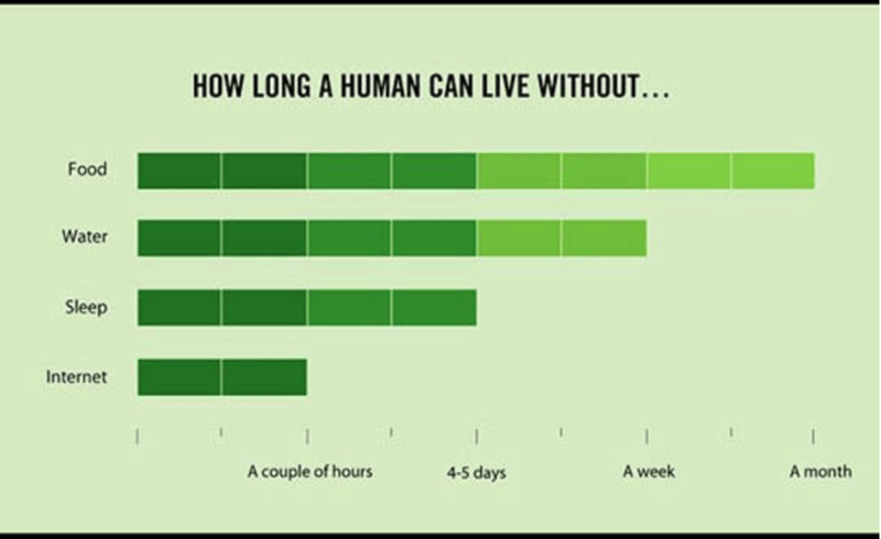 Green - HOW LONG A HUMAN CAN LIVE WITHOUT.. Food Water Sleep Internet 4-5 days A week A couple of hours A month