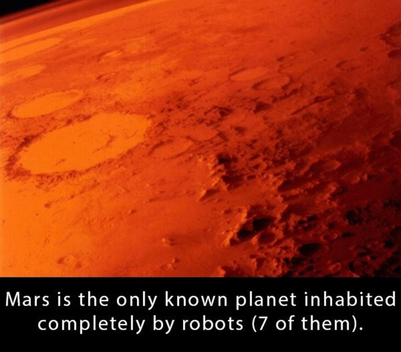 Geological phenomenon - Mars is the only known planet inhabited completely by robots (7 of them).