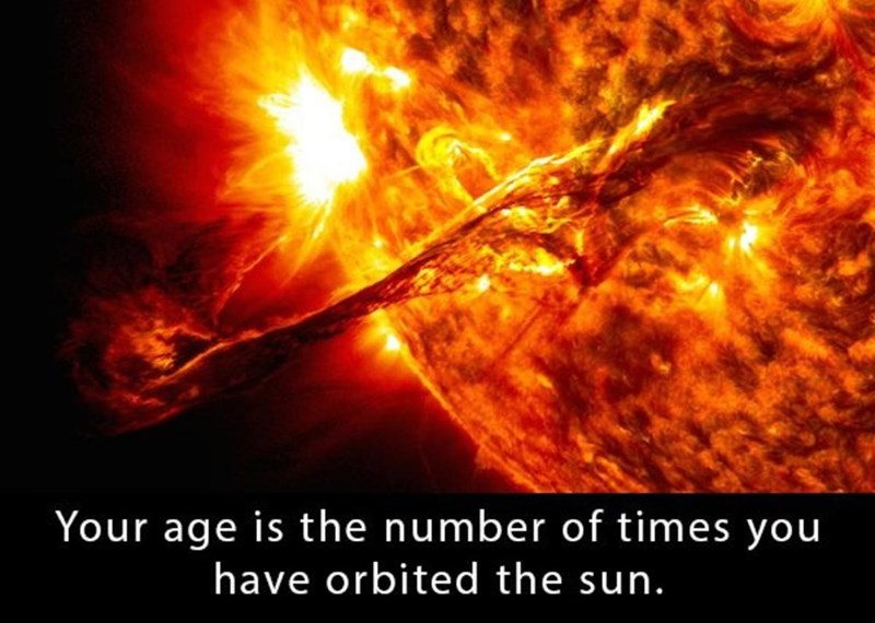 Heat - Your age is the number of times you have orbited the sun.