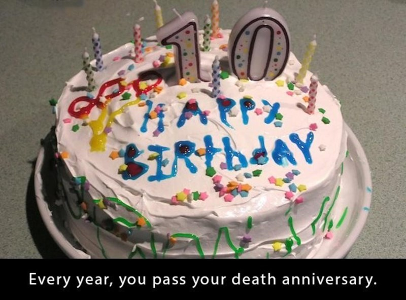 Cake - SItbdAY Every year, you pass your death anniversary.