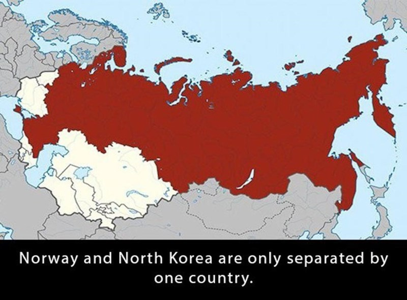 World - Norway and North Korea are only separated by one country.