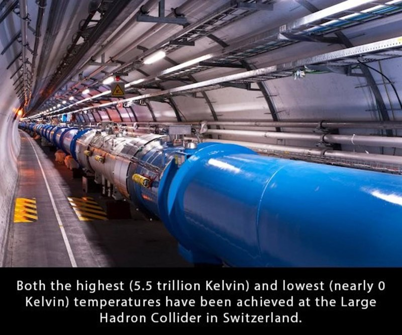 Transport - Both the highest (5.5 trillion Kelvin) and lowest (nearly 0 Kelvin) temperatu res have been achieved at the Large Hadron Collider in Switzerland.